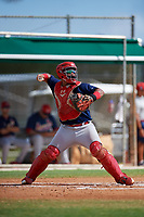 GCL Cardinals catcher Ivan Herrera (32) throws to second base during a game against the GCL Marlins on August 4, 2018 at Roger Dean Chevrolet Stadium in Jupiter, Florida.  GCL Marlins defeated GCL Cardinals 6-3.  (Mike Janes/Four Seam Images)