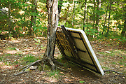 "Poor ""Leave No Trace"" habits along the the Sawyer River Trail in the White Mountains, New Hampshire USA. This area is located near the Swift River crossing along the trail."