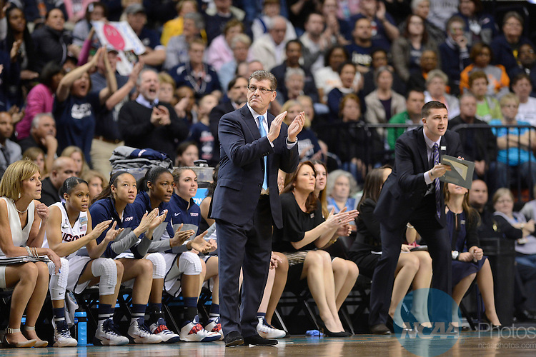 06 Apr 2014:  University of Connecticut Head Coach Geno Auriemma applauds his team's performance during the 2014 Division I Women's Final Four in Nashville, TN. Connecticut defeated Stanford 75-56 to move on to the National Championship.  Jamie Schwaberow/NCAA Photos