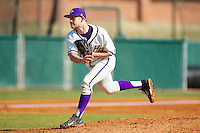 High Point Panthers relief pitcher Cas Silber (29) follows through on his delivery against the Bowling Green Falcons at Willard Stadium on March 9, 2014 in High Point, North Carolina.  The Falcons defeated the Panthers 7-4.  (Brian Westerholt/Four Seam Images)