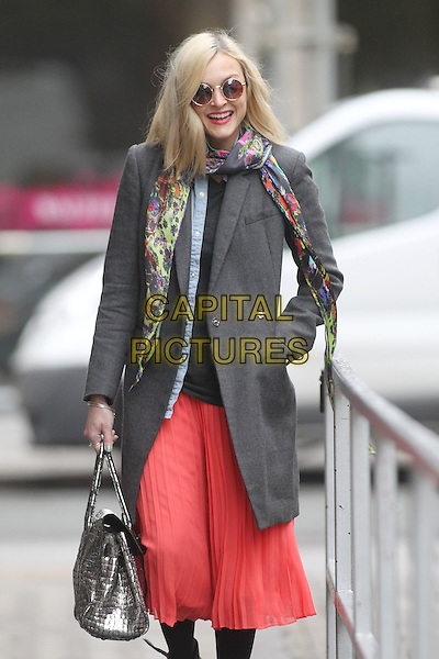 Fearne Cotton arrives for work, London, England..April 19th, 2012.half length grey gray jacket coat black top print scarf pink coral skirt silver bag purse hand in pocket sunglasses shades .CAP/HIL.©John Hillcoat/Capital Pictures .