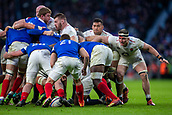 10th February 2019, Twickenham Stadium, London, England; Guinness Six Nations Rugby, England versus France; A bloody Tom Curry of England has his eye on the ball
