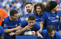 Chelsea's Olivier Giroud gestures that he has won the FA Cup four times<br /> <br /> Photographer Rob Newell/CameraSport<br /> <br /> Emirates FA Cup Final - Chelsea v Manchester United - Saturday 19th May 2018 - Wembley Stadium - London<br />  <br /> World Copyright &copy; 2018 CameraSport. All rights reserved. 43 Linden Ave. Countesthorpe. Leicester. England. LE8 5PG - Tel: +44 (0) 116 277 4147 - admin@camerasport.com - www.camerasport.com