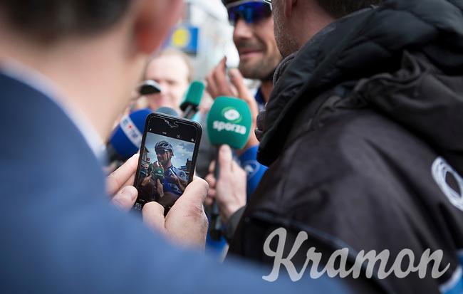 Capturing Tom Boonen (BEL/Quick Step Floors) post-race<br /> <br /> 105th Scheldeprijs 2017 (1.HC)<br /> 1day race: Mol &gt; Schoten 200km