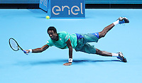 Gael Monfils shows his full Repertoire of shots against Milos Raonic of Canada in the ATP Tour Finals   played at  the O2 Arena  London on 13th November 2016
