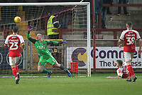 Fleetwood Town's Alex Cairns is beaten by a Ashley Eastham own goal<br /> <br /> Photographer Mick Walker/CameraSport<br /> <br /> The EFL Sky Bet League One - Fleetwood Town v Scunthorpe United - Saturday 26th January 2019 - Highbury Stadium - Fleetwood<br /> <br /> World Copyright © 2019 CameraSport. All rights reserved. 43 Linden Ave. Countesthorpe. Leicester. England. LE8 5PG - Tel: +44 (0) 116 277 4147 - admin@camerasport.com - www.camerasport.com