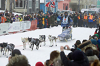 Robert Sorlie in the Finish Chute Front St Nome AK 2005 Iditarod Winner