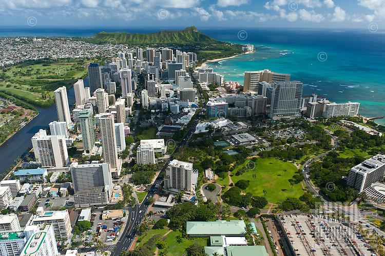 Aerial view of Waikiki and Diamond Head