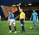 Martyn Waghorn gets a booking from Craig Charleston for tumbling in the box - Mark Brown looks puzzled