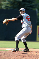 July 31, 2005:  Pitcher Brad Bergesen of the Aberdeen Ironbirds during a game at Russell Diethrick Park in Jamestown, NY.  Aberdeen is the Short Season Single-A NY-Penn League affiliate of the Baltimore Orioles.  Photo By Mike Janes/Four Seam Images