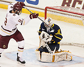 Alex Tuch (BC - 12), Rasmus Tirronen (Merrimack - 32) - The Boston College Eagles defeated the visiting Merrimack College Warriors 2-1 on Wednesday, January 21, 2015, at Kelley Rink in Conte Forum in Chestnut Hill, Massachusetts.