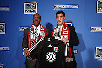 DC Utd -Chris Pontius #7 overall draft pick (right)-Rodney Wallace #6 overall draft pick. MLS Superdraft 2009 held at Convention and Visitors Center, St Louis , MO January 15 2009.