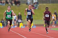 Senior boys 100m quarterfinals. 2019 New Zealand Secondary Schools Athletics Championships at Newtown Park in Wellington, New Zealand on Saturday, 7 December 2019. Photo: Dave Lintott / lintottphoto.co.nz