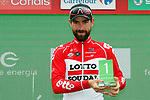 Thomas De Gendt (BEL) Lotto-Soudal wins the days combativity award at the end of Stage 12 of the La Vuelta 2018, running 181.1km from Mondonedo to Faro de Estaca de Bares. Manon, Spain. 6th September 2018.<br /> Picture: Unipublic/Photogomezsport | Cyclefile<br /> <br /> <br /> All photos usage must carry mandatory copyright credit (&copy; Cyclefile | Unipublic/Photogomezsport)