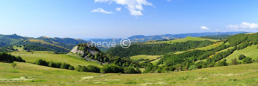 France, Ardèche (07), parc naturel régional des Monts d'Ardèche, Lachamp-Raphaël, montagne ardéchoise de Haute Ardèche, suc aux Charassons // France, Ardeche, parc naturel regional des Monts d'Ardeche (Regional natural reserve of the Mounts of Ardeche), Lachamp Raphael, Ardeche Mountain