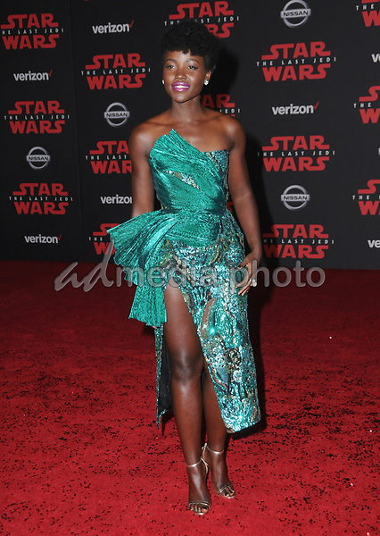 "09 December  2017 - Los Angeles, California - Lupita Nyong'o. Premiere Of Disney Pictures And Lucasfilm's ""Star Wars: The Last Jedi"" held at The Shrine Auditorium  in Los Angeles Photo Credit: Birdie Thompson/AdMedia"