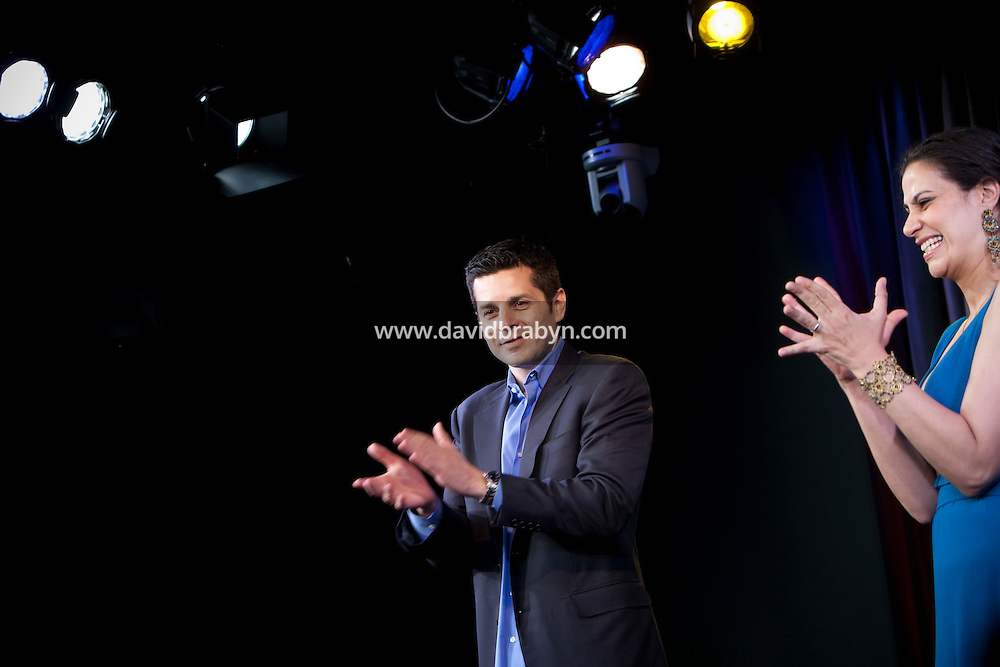 Comedians Dean Obeidallah (L) and Maysoon Zayid perform in the 6th Annual NY Arab-American Comedy Festival in New York, USA, 10 May 2009.