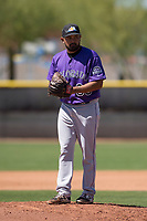 Colorado Rockies relief pitcher Rico Garcia (39) prepares to deliver a pitch during an Extended Spring Training game against the San Diego Padres at Peoria Sports Complex on March 30, 2018 in Peoria, Arizona. (Zachary Lucy/Four Seam Images)