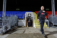 Pictured: Coach Patrick Horgan exits the changing room. Tuesday 20 February 2019<br /> Re: Neath RFC training at The Gnoll in Neath, south Wales, UK.