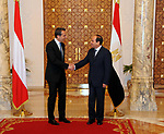 Egyptian President Abdel Fattah al-Sisi shakes hands with Austrian Chancellor Christian Kern, in Cairo, Egypt, on May 24, 2017. Photo by Egyptian President Office