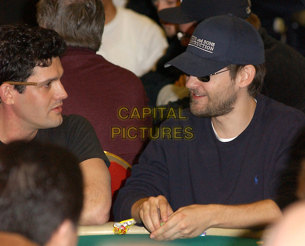 TOBEY MAGUIRE.participates at the World Poker Tour Invitational held at The  Commerce Casino in Commerce, California                    25 February 2004.*UK Sales Only*.baseball cap, hat, beard, sunglasses, shades.www.capitalpictures.com.sales@capitalpictures.com.©Capital Pictures.
