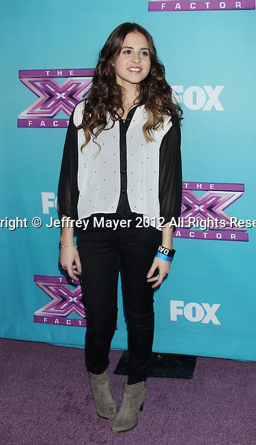 LOS ANGELES, CA - DECEMBER 17: Carly Rose Sonenclar attends  'The X Factor' season finale press conference at CBS Studios on December 17, 2012 in Los Angeles, California.