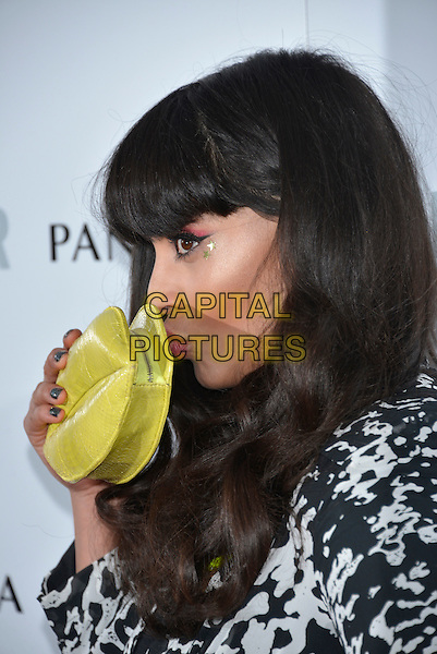 Jameela Jamil<br /> Glamour Women of the Year, Berkeley Square, London, England.<br /> 4th June 2013<br /> headshot portrait black mouth open white pattern profile yellow clutch bag puckering lips kiss kissing <br /> CAP/PL<br /> &copy;Phil Loftus/Capital Pictures