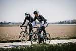 Peter Sagan (SVK) and Daniel Oss (ITA) Bora-Hansgrohe recon the cobbles before Paris-Roubaix 2019. 11th April 2019<br /> Picture: ASO/Pauline Ballet | Cyclefile<br /> All photos usage must carry mandatory copyright credit (© Cyclefile | ASO/Pauline Ballet)