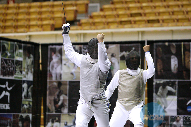 25 MAR 2011: Ariel DeSmet, left, of Notre Dame fences against MIles Chamley-Watson of Penn State in the foil championship bout during the Division I Men's Fencing Championship held at St. John Arena on the Ohio State University campus in Columbus, OH. DeSmet defeated Chamley-Watson 15-13 to claim the national title.  Jay LaPrete/ NCAA Photos