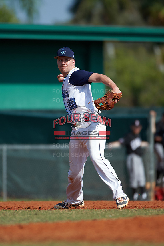 Lasell Lasers third baseman Tyler Flaherty (20) during the first game of a doubleheader against the Edgewood Eagles on March 14, 2016 at Terry Park in Fort Myers, Florida.  Edgewood defeated Lasell 9-7.  (Mike Janes/Four Seam Images)