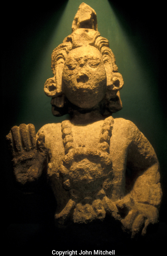 Sculpture of the Maya maize god, Museo de Arqueologia Maya, Copan Ruinas, Honduras