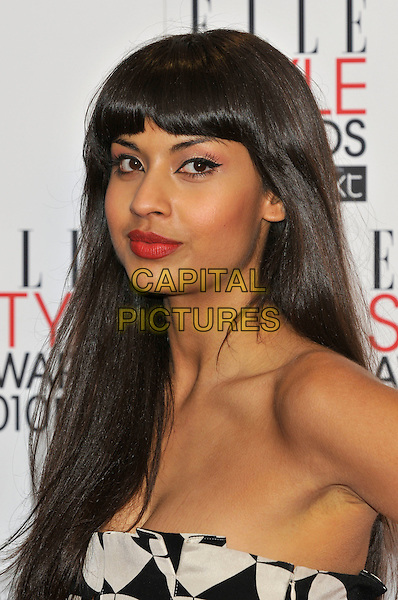 JAMEELA JAMIL.Arrivals at the ELLE Style Awards at Grand Connaught Rooms, London, England..February 22nd, 2010 .headshot portrait white black strapless fringe bangs .CAP/PL.©Phil Loftus/Capital Pictures.