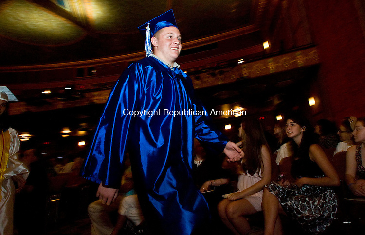 TORRINGTON, CT - 22 JUNE 2010 -062210JT13-<br /> Lewis Mills graduate William Muhl, Jr. walks to the stage during commencement ceremonies at the Warner Theatre in Torrington on Tuesday.<br /> Josalee Thrift Republican-American