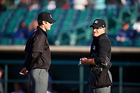 Umpires Zach Neff (left) and Randy Wilmes (right) before a California League game between the Visalia Rawhide and the Lancaster JetHawks at The Hangar on May 17, 2018 in Lancaster, California. Lancaster defeated Visalia 11-9. (Zachary Lucy/Four Seam Images)