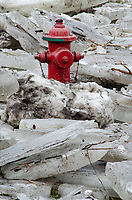 A fire hydrant normally sitting in a grassy area is surrounded by river ice that broke free, then dammed up and pushed and floated fifty or so feet to surround this hydrant, DuPage River, Will County, Illinois