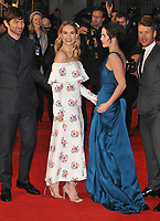 Michiel Huisman, Lily James, Jessica Brown Findlay and Glen Powell at the &quot;The Guernsey Literary And Potato Peel Pie Society&quot; world film premiere, Curzon Mayfair cinema, Curzon Street, London, England, UK, on Monday 09 April 2018.<br /> CAP/CAN<br /> &copy;CAN/Capital Pictures