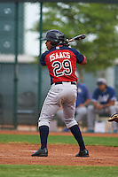 Cleveland Indians Todd Isaacs (29) during an instructional league game against the Los Angeles Dodgers on October 15, 2015 at the Goodyear Ballpark Complex in Goodyear, Arizona.  (Mike Janes/Four Seam Images)