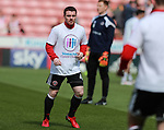 John Fleck of Sheffield Utd wears a Weston park Charity t-shirt during the championship match at the Bramall Lane Stadium, Sheffield. Picture date 14th April 2018. Picture credit should read: Simon Bellis/Sportimage