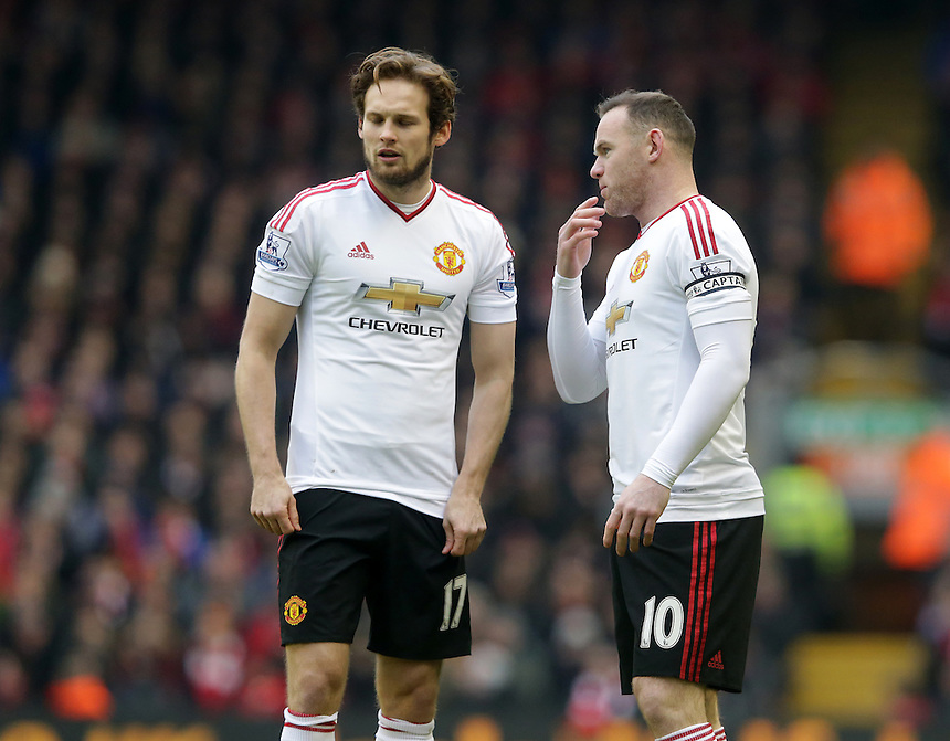 Manchester United's Daley Blind and Wayne Rooney<br /> <br /> Photographer Stephen White/CameraSport<br /> <br /> Football - Barclays Premiership - Liverpool v Manchester United - Sunday 17th January 2016 - Anfield - Liverpool<br /> <br /> &copy; CameraSport - 43 Linden Ave. Countesthorpe. Leicester. England. LE8 5PG - Tel: +44 (0) 116 277 4147 - admin@camerasport.com - www.camerasport.com