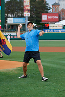 Actor Corbin Bernsen, who stared in the movie Major League, throws out the ceremonial first pitch before a Rochester Red Wings International League game against the Pawtucket Red Sox on June 28, 2019 at Frontier Field in Rochester, New York.  Pawtucket defeated Rochester 8-5.  (Mike Janes/Four Seam Images)