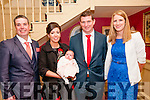 Baby Ellie Mai Collins with her parents Jackie Enright & Joe Collins, Abbeyfeale & god parents Aidan Enright & Caroline Houlihan who was christened in Templeglantine Church by Canon Ambrose on Sunday kast and afterwards at the Listowel Arms Hotel.