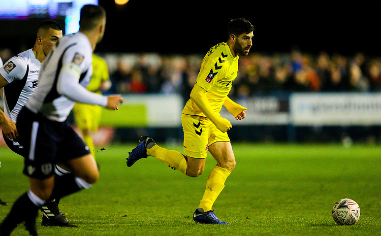 Fleetwood Town's Ched Evans runs at the Guiseley defence<br /> <br /> Photographer Alex Dodd/CameraSport<br /> <br /> The Emirates FA Cup Second Round - Guiseley v Fleetwood Town - Monday 3rd December 2018 - Nethermoor Park - Guiseley<br />  <br /> World Copyright &copy; 2018 CameraSport. All rights reserved. 43 Linden Ave. Countesthorpe. Leicester. England. LE8 5PG - Tel: +44 (0) 116 277 4147 - admin@camerasport.com - www.camerasport.com