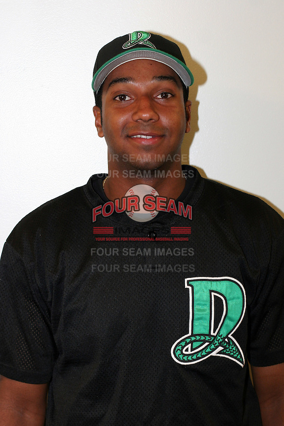 Dayton Dragons Gerardo Cabrera poses for a photo before a Midwest League game at Fifth Third Field on July 18, 2006 in Dayton, Ohio.  (Mike Janes/Four Seam Images)