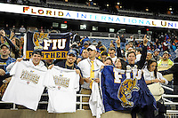 26 December 2010:  FIU fans celebrate after the FIU Golden Panthers defeated the University of Toledo Rockets, 34-32, to win the 2010 Little Caesars Pizza Bowl at Ford Field in Detroit, Michigan.