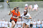 16 May 2015: Princeton's Abby Finkelston (18) and Duke's Stuart Humphrey (right). The Duke University Blue Devils hosted the Princeton University Tigers at Koskinen Stadium in Durham, North Carolina in a 2015 NCAA Division I Women's Lacrosse Tournament quarterfinal match. Duke won the game 7-3.