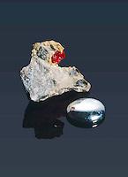 MERCURY & RARE CRYSTAL CINNABAR<br /> Elemental Form & HgS, Chief Ore Of Mercury.<br /> Elemental form & HgS (Mercury sulfide) chief ore of mercury.