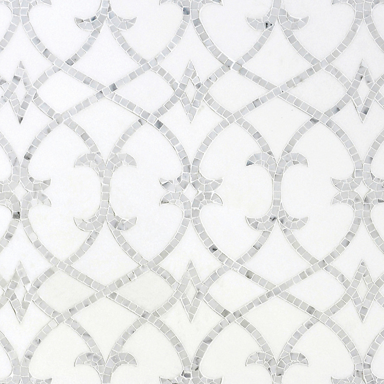 Avila, a waterjet and hand-cut mosaic shown in honed Thassos and polished Statuarietto, is part of the Miraflores collection by Paul Schatz for New Ravenna.