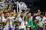 Sergio Ramos of Real Madrid lifts the Champions League trophy after the UEFA Champions League Final match between Juventus and Real Madrid at the Principality Stadium on June 3rd 2017 in Cardiff, Wales.