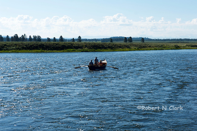 Float boat with fishermen on the Henry's Fork of the Snake River, Idaho