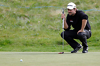 Victor Dubuisson lines up his putt on the 15th during the second day at the Betfred British Masters, Hillside Golf Club, Lancashire, England. 10/05/2019.<br /> Picture David Kissman / Golffile.ie<br /> <br /> All photo usage must carry mandatory copyright credit (&copy; Golffile | David Kissman)